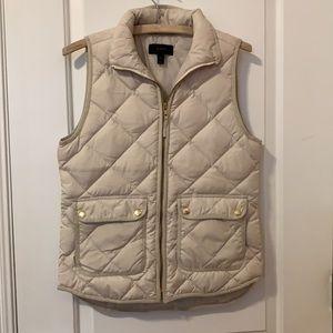 J Crew Cream White Quilted Puffer Excursion Vest